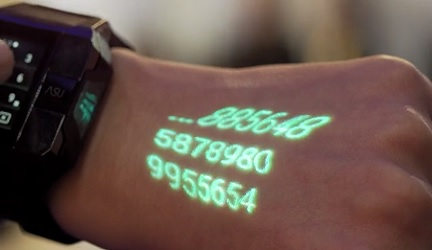 A smart watch with a built-in projector