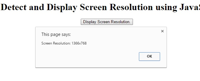 JavaScript - Detect and Display Screen Resolution using
