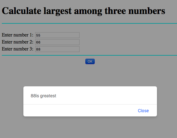 JavaScript code to find largest of three numbers