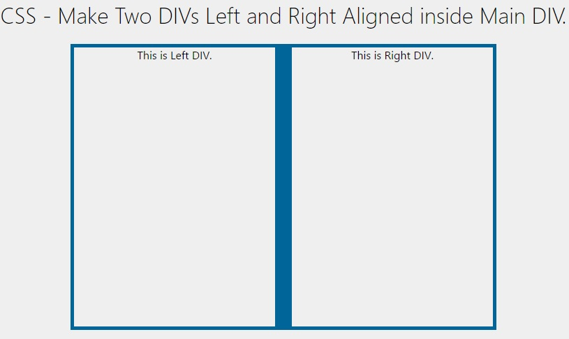 Css make two divs left and right aligned inside main div for Css center div