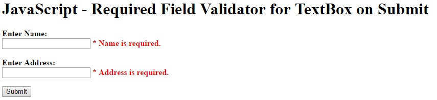 JavaScript - Required Field Validator for TextBox on Submit