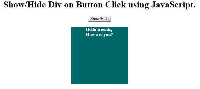 Show/Hide Div on Button Click using JavaScript - IncludeHelp