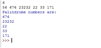 Python | Program to print Palindrome numbers from the given list
